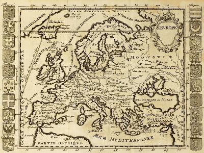 Map Of Europe Framed By National Crests. May Be Dated To The Beginning Of Xviii Sec-marzolino-Art Print