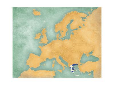 Map of Europe - Greece (Summer Style)-Tindo-Art Print