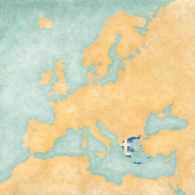 Map of Europe - Greece (Vintage Series)-Tindo-Art Print