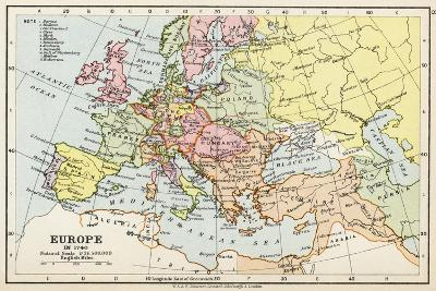 Map of Europe in 1740, from 'Historical Atlas'--Giclee Print