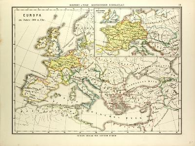 Map of Europe in 500 A.D--Giclee Print