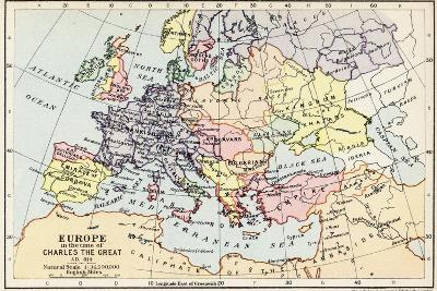 Map of Europe in the Time of Charles the Great--Giclee Print