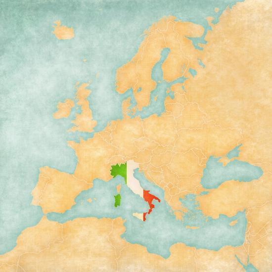Map of Europe - Italy (Vintage Series)-Tindo-Art Print