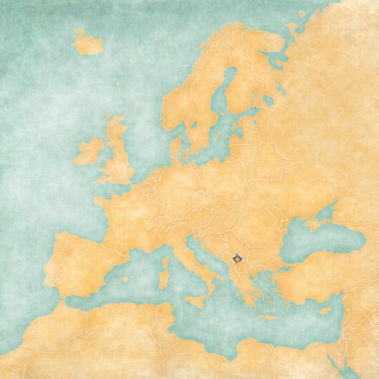 Map Of Europe Kosovo Vintage Series Art Print By Tindo Art Com