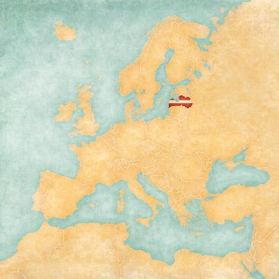 Map of Europe - Latvia (Vintage Series)-Tindo-Art Print