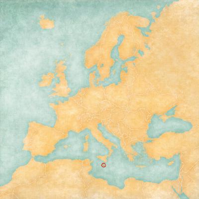 Malta Map Of Europe.Map Of Europe Malta Vintage Series Art Print By Tindo Art Com