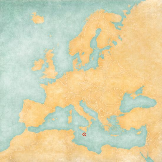 Malta On Map Of Europe.Map Of Europe Malta Vintage Series Art Print By Tindo Art Com