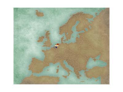 Map of Europe - Netherlands (Dark)-Tindo-Art Print