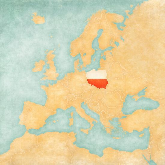 Map of Europe - Poland (Vintage Series) Art Print by Tindo | Art.com