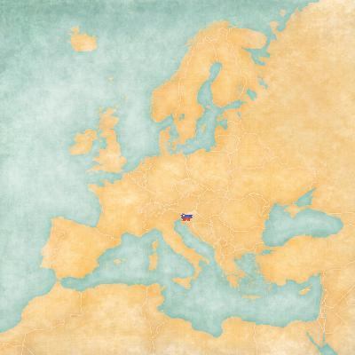 Map of Europe - Slovenia (Vintage Series)-Tindo-Art Print