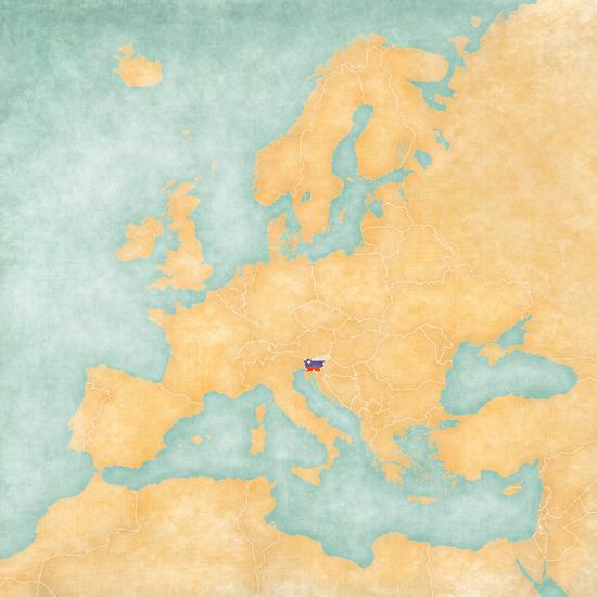 Map of Europe - Slovenia (Vintage Series) Art Print by Tindo   Art.com