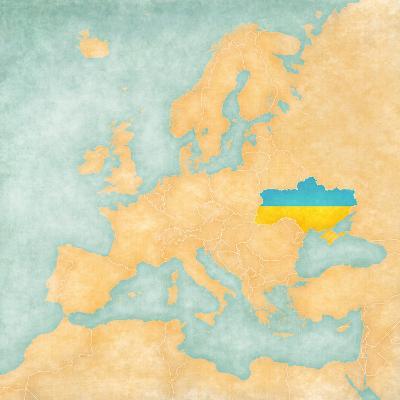 Map of Europe - Ukraine (Vintage Series)-Tindo-Art Print