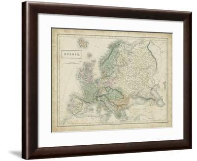 Map of Europe-Sidney Hall-Framed Art Print