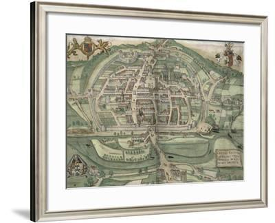 Map of Exeter, from Civitates Orbis Terrarum by Georg Braun-Joris Hoefnagel-Framed Giclee Print