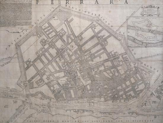 Map of Ferrara, Italy--Giclee Print