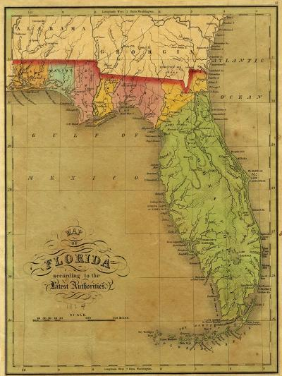 Map of Florida, 1826-A. Finley-Giclee Print