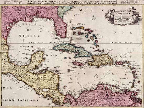 Print Map Of Florida.Map Of Florida Central America And The Caribbean 1756 Giclee Print