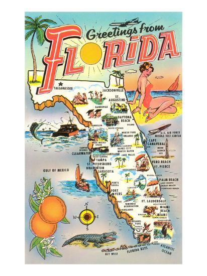 Print Map Of Florida.Map Of Florida Art Print By Art Com