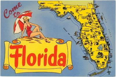 Map of Florida--Stretched Canvas Print