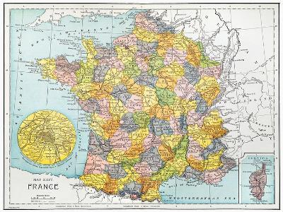 Map Of France, C1900--Giclee Print