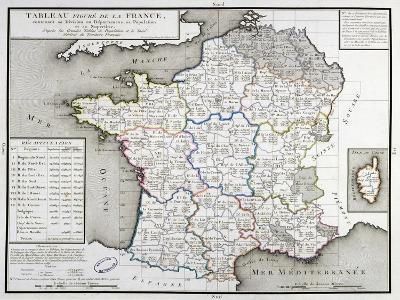 Map of France Depicting the Departmental Divisions, 1798--Giclee Print