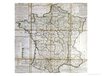 Map of France Divided into Provinces- Cesar Francois Cassini De Thury-Giclee Print
