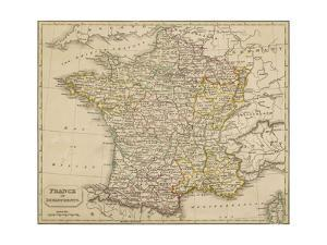 Map of France Showing the Departements