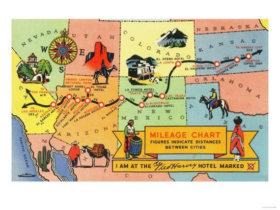 Map of Fred Harvey Hotel Locations - CA to KS-Lantern Press-Art Print
