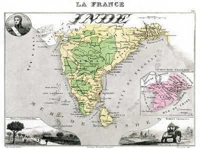 Map of French-Occupied India, Late 19th Century-Edmond Dyonnet-Giclee Print