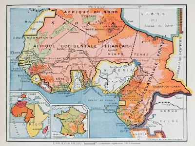 Map of French West and Equatorial Africa, from a School Geography Textbook, 1938--Giclee Print