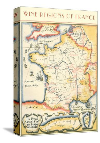 Map of French Wine Country--Stretched Canvas Print