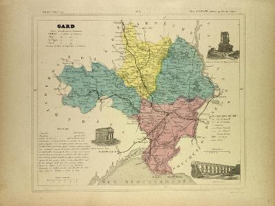 Map of Gard France--Giclee Print