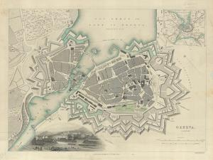 Map of Geneva, with an Illustrated 'View of the City', 1847