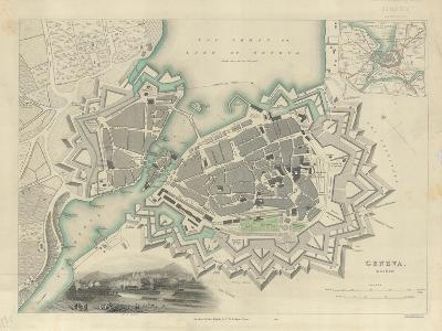 Map of Geneva, with an Illustrated 'View of the City', 1847--Giclee Print