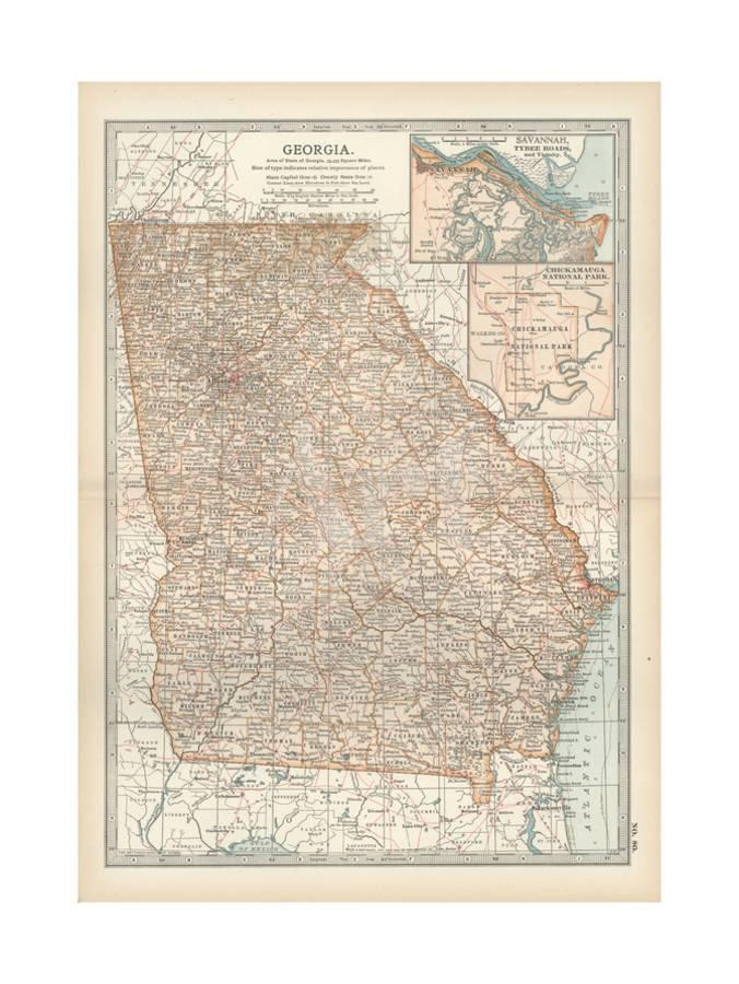 Map Of Georgia United States.Map Of Georgia United States Inset Maps Of Savannah And Vicinity Chickamauga National Park Giclee Print By Encyclopaedia Britannica Art Com