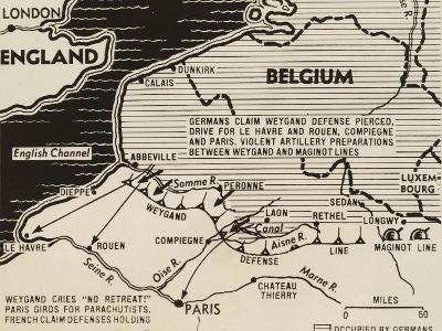 Map of German World War 2 Invasion and Allied Resistance in Early June 1940--Art Print