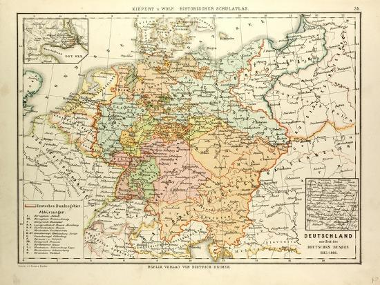 Map Of Germany To Print.Map Of Germany 1815 1866 Giclee Print By Art Com