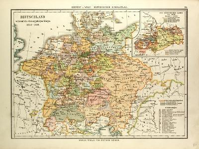Map of Germany During the Thirty Years' War 1618 - 1648--Giclee Print