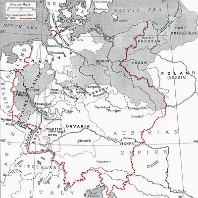 photograph relating to Printable Maps of Germany titled Map of Germany in just 1815 Giclee Print through