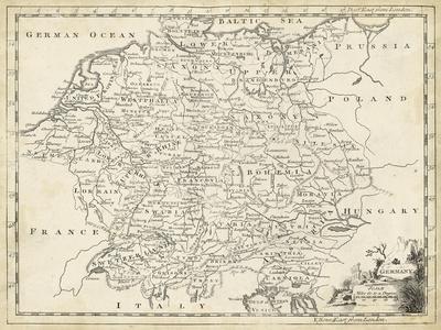 image regarding Printable Maps of Germany referred to as Map of Germany Artwork Print via T. Jeffreys