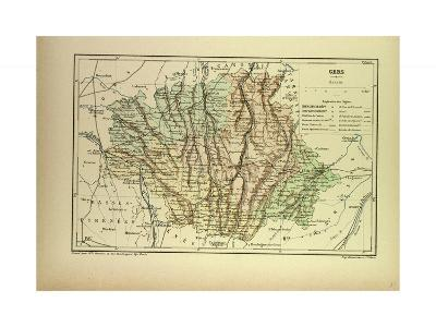 Map of Gers France--Giclee Print