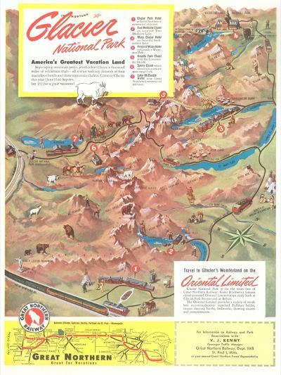 Map of Glacier National Park, Montana--Art Print