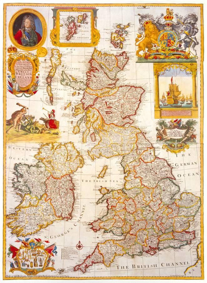 Britain And Ireland Map.Map Of Great Britain And Ireland C1730 Premium Giclee Print By
