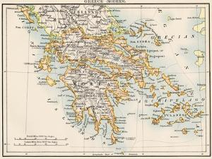 Map of Greece, 1870s