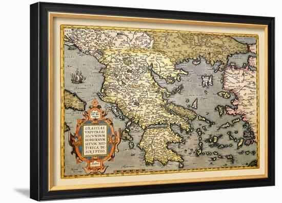 Map of Greece-Abraham Ortelius-Framed Art Print