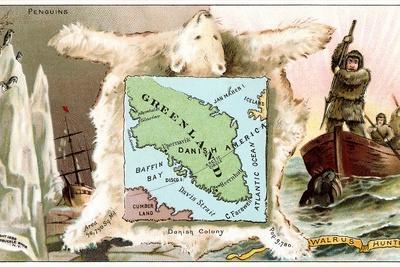 Map of Greenland, Inuit--Art Print