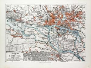 Map of Hamburg and the Surrounding Area Germany 1899