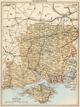 Map Of Nw England.Map Of Hampshire England 1870s Giclee Print By Art Com