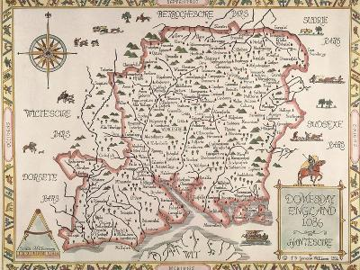 Map of Hampshire--Giclee Print