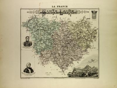 Map of Haute Loire 1896, France--Giclee Print